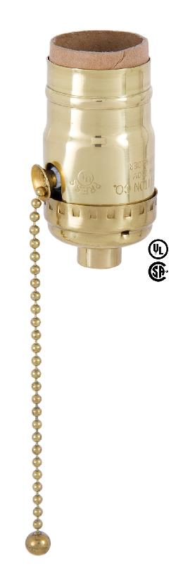 Pull Chain Leviton Polished Brass Socket