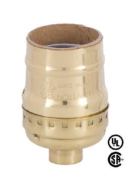 Short Keyless Leviton Polished Brass Medium Socket