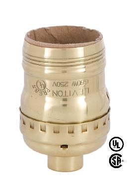 Short Keyless Leviton Polished Brass Medium Socket - UNO Thread