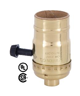 3-Way Turn Knob Leviton Brand Brass Socket