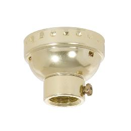 Aluminum E-26 Lamp Socket Cap With Set Screw, 1/4 IP, Brass Plated
