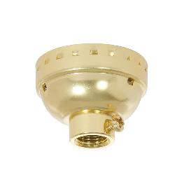 Aluminum E-26 Lamp Socket Cap with Set Screw, 1/8 IP, Brass Plated