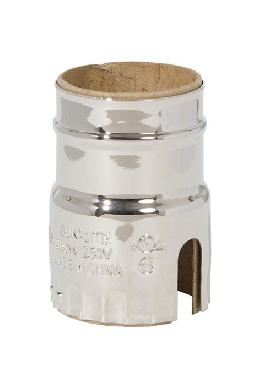 2-Slot Brass Socket Shell, E-26, Polished Nickel Finish, No UNO Threads