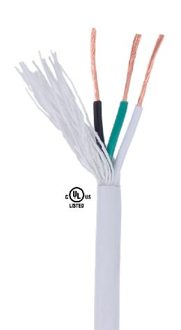 White PVC 3-wire Medium Duty SVT Spooled Lamp Cord