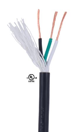 Black PVC 3-wire Medium Duty SVT <br>Spooled Lamp Cord