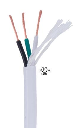 White PVC 3-wire Heavy Duty SJT Spooled Lamp Cord