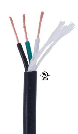 Black PVC 3-wire Heavy Duty SJT <br>Spooled Lamp Cord