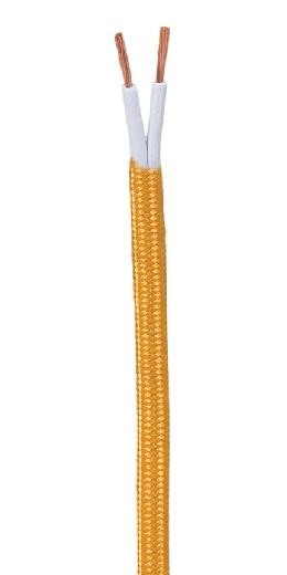Gold Rayon Covered Parallel Lamp Spool Cord, Choice of Length