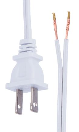 White, 18/2 Plastic Covered Lamp Cord Sets, Choice of Length and SPT