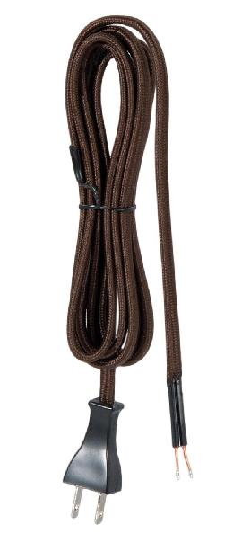 8 Ft. Mid-Century Style Brown Rayon Lamp Cord Set - UL Listed