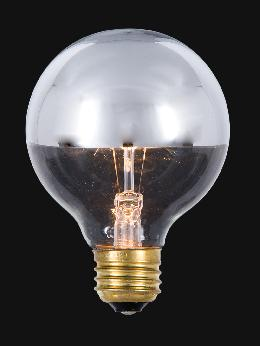 3 Inch 60 Watt Globe Clear Light Bulb With Silver Bowl