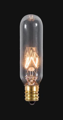 Tall Tubular Candelabra Base Bulb With Glowing Filament