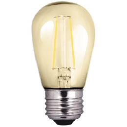 S14 Antique Style LED Light Bulb with Amber Glass, Squirrel Cage Filament