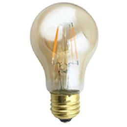 A19 Antique Style LED Light Bulb with Amber Glass, Squirrel Cage Filament