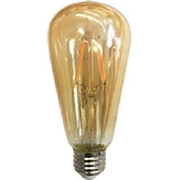 ST19 Antique Style LED Light Bulb with Amber Glass, Squirrel Cage Filament