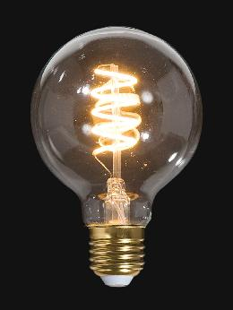 LED Vintage Style Light Bulb, G25, Medium Size (E26) w/Spiral Filament