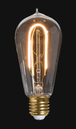 LED Vintage Style Light Bulb, ST18, Medium Size (E26) w/Hairpin Filament