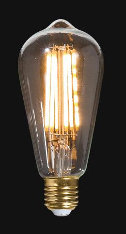 LED Vintage Style Light Bulb, ST64, Medium Size (E26) w/Squirrel Cage Filament