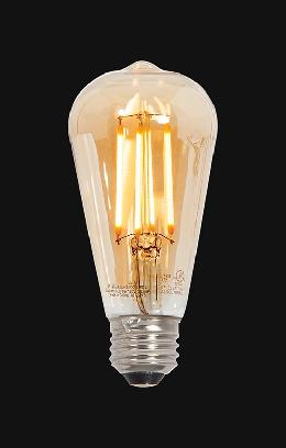 Vintage Style LED Medium 60 Watt Equivalent E-26 Base ST19 Amber Dimmable Light Bulb
