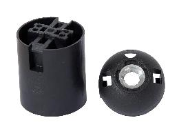 Keyless 2 Piece Smooth Body Phenolic E26 Socket, Black