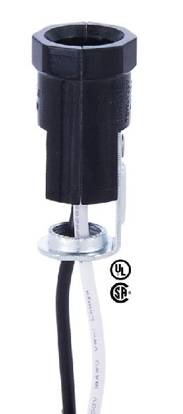 "Pigtail E12 Candelabra Lamp Socket <br>With 1/8F Hickey And 12"" Wire Leads"