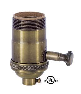 Edison Size Full Dimmer Socket In Antique Brass with UNO Thread