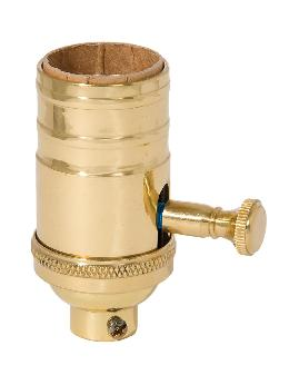 Full Range Brass Dimmer Lamp Socket, 1/4 IP Socket Cap, Polished and Lacquered Finish