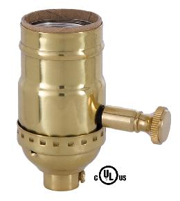 Edison Size Full Dimmer Stamped Socket In Brass Finish