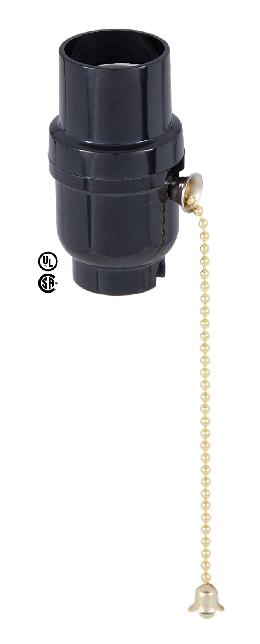 E26 Plastic Pull Chain Lamp Socket w/Brass Chain and Plain Top