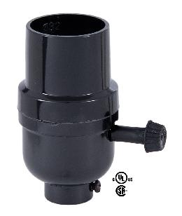 Medium Base (E26) Plastic Lamp Socket With 3-Way Turn Knob