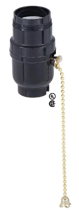 Medium Base (E26) Plastic Pull Chain Socket <br>w/ Brass Chain and UNO Threads