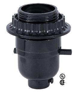 Medium Base (E26) Push-Thru Black Plastic Lamp Socket <br>w/Retaining Ring