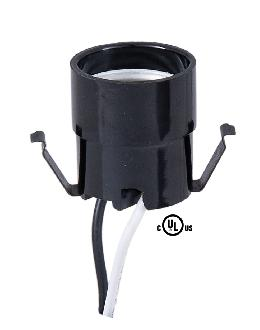 Edison Size Socket With Clip and 12 Inch 125C Lead Wires