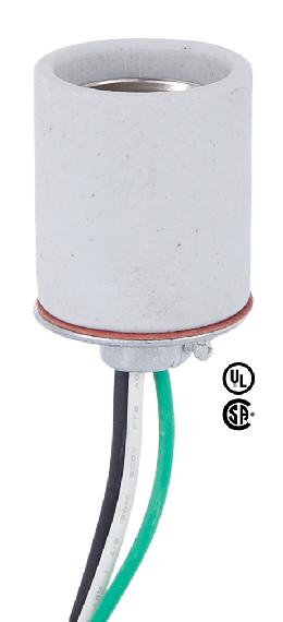Medium Base Porcelain Socket With Flange Bottom and Lead Wires