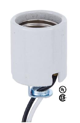 "Medium Base Porcelain Socket With Hickey <br>and 18"" Lead Wires"