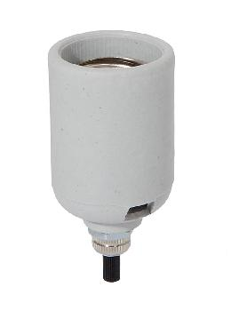 "E-26 Unglazed Porcelain Lamp Socket, Bottom Turn Knob, 1/8M x 3/8"" Long Shank"