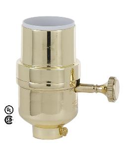 Modern Style 3-Way Lamp Socket w/Brass Plated Finish