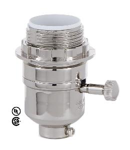 Modern Style On-Off Turn Knob Lamp Socket w/Nickel Plated Finish and UNO Thread