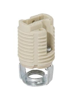 G9 Halogen External Threaded Porcelain Lamp Socket, 1/8 IP Double Leg Hickey Push-In Terminals