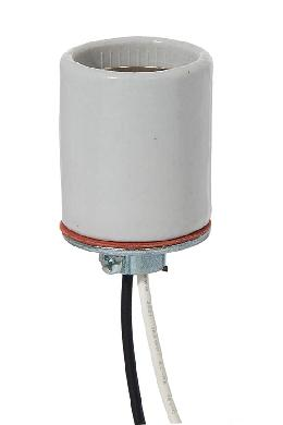 E-26 Keyless Glazed Porcelain Lamp Socket, Choice of Wire Lead Length