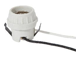 "Keyless Unglazed Porcelain E-26 Snap-In Socket, 9-1/2"" SF-1 B/W Leads"