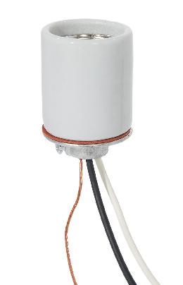 "E-26 Keyless Glazed Porcelain Lamp Socket,1/4 IPS Metal Cap with Set Screw, 20"" Wire Leads"