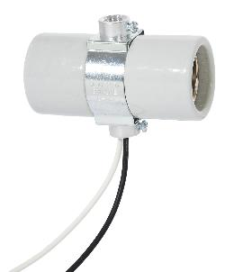 "Twin E-26 Base Glazed Porcelain Socket with Double Brushing Strap, 24"" Wire Leads"