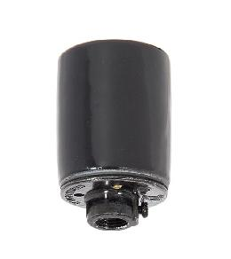 Keyless Glazed Black Porcelain E-26 Socket, 1/4IP Metal cap