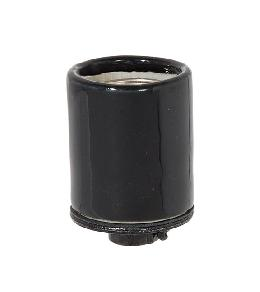 Keyless Glazed Black Porcelain E-26 Lamp Socket,1/4 IPS Metal Cap w/Set Screw