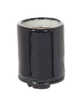Keyless Glazed Black Porcelain E-26 Socket,1/8 IPS Metal Cap w/Set Screw
