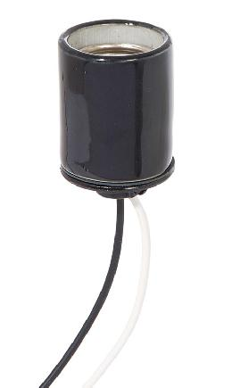 "E-26 Keyless Black Glazed Porcelain Socket, 1/8 IPS Metal Cap with Set Screw, 9"" Leads"
