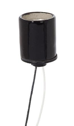 E-26 Keyless Black Glazed Porcelain Socket, 1/8 IPS Metal Cap with Set Screw, Choice of Lead Length