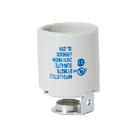 Keyless Glazed Porcelain E-26 Socket, 1/4 IPS Hickey
