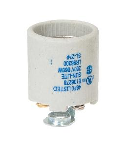 Keyless Unglazed Porcelain E-26 Socket, Detachable 1/8 IP Hickey and Screw Shell